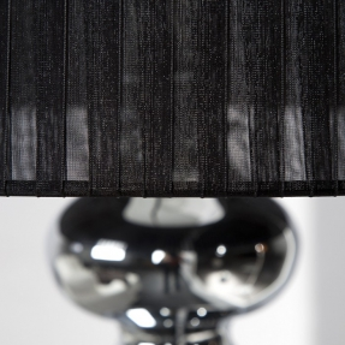 XL Stehlampe DIVA Chrom & schwarzem Organza Schirm 155cm Höhe - 3