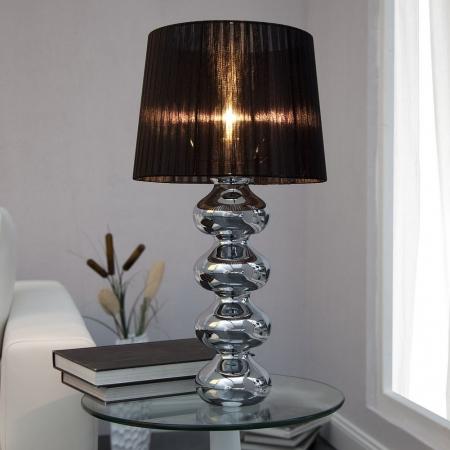 XL Tischlampe DIVA Chrom & schwarzem Organza Schirm 68cm Höhe - 1