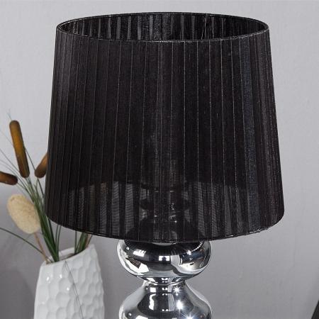 XL Tischlampe DIVA Chrom & schwarzem Organza Schirm 68cm Höhe - 2