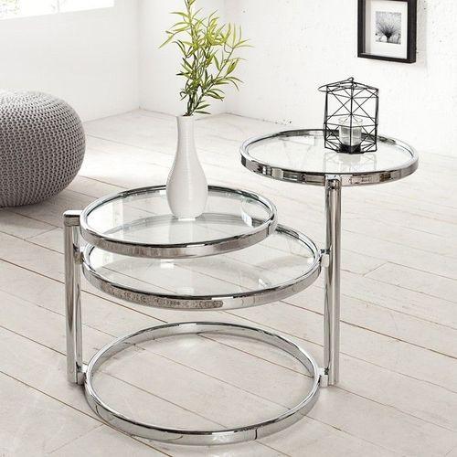 3 Ebenen Beistelltisch SATURNUS Chrom und Glas drehbar 55cm-155cm - 1