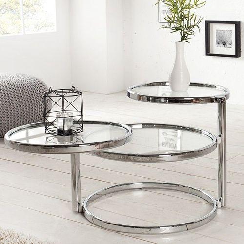 3 Ebenen Beistelltisch SATURNUS Chrom und Glas drehbar 55cm-155cm - 2