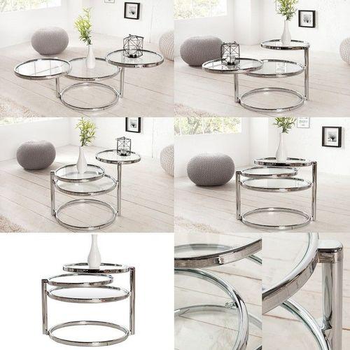 3 Ebenen Beistelltisch SATURNUS Chrom und Glas drehbar 55cm-155cm - 3