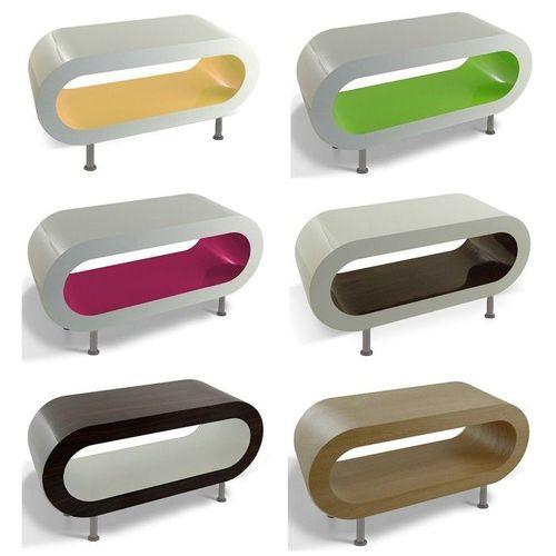 MADE in UK: Retro Lounge Couchtisch LEO 90cm mit Füßen in 24389 Farbkombinationen! - 1