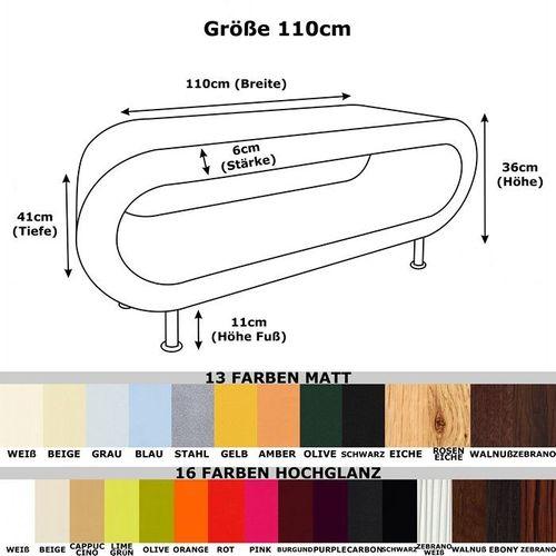 MADE in UK: Retro Lounge Couchtisch LEO 110cm mit Füßen in 24389 Farbkombinationen! - 4