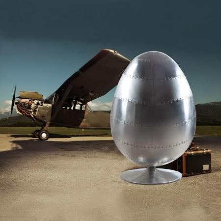 Sessel Space EGG BALL Silber-Braun mit genietetem Alu-Finish drehbar - 2