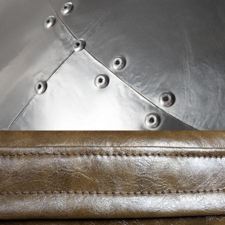 Sessel Space EGG BALL Silber-Braun mit genietetem Alu-Finish drehbar - 3