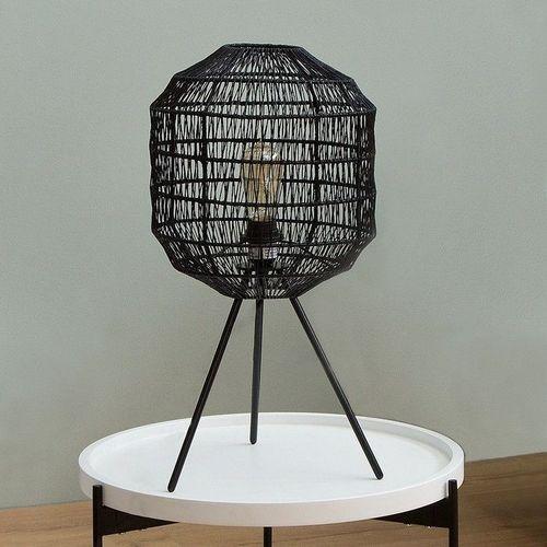 Tischlampe BLACKBIRD Schwarz aus geflochtenem Papier handgefertigt 57cm Höhe - 1