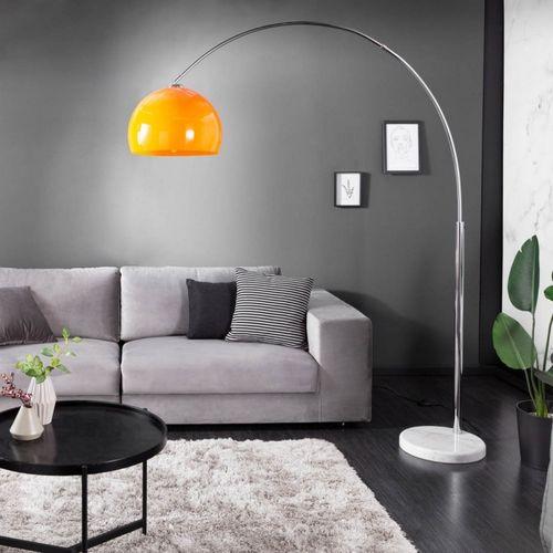 Bogenlampe LUXX Orange mit Marmorfuß Weiß 175-205cm Höhe - 1
