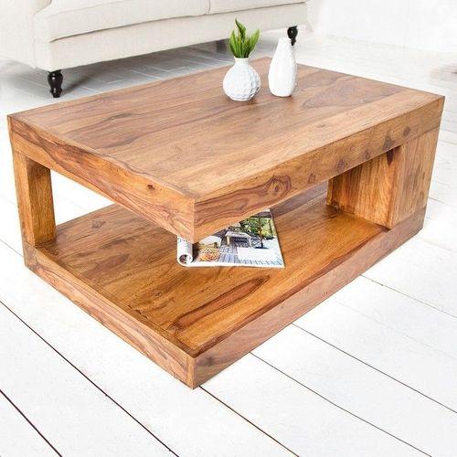 Couchtisch AGRA Sheesham massiv Holz gewachst 90cm x 60cm - 1