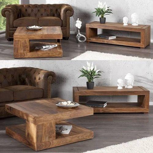 Couchtisch AGRA Sheesham massiv Holz gewachst 90cm x 90cm - 2