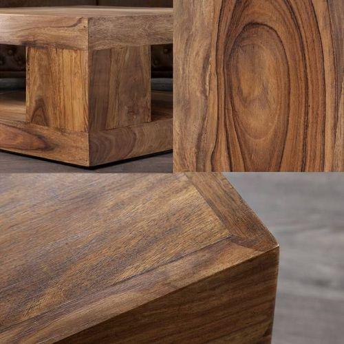 Couchtisch AGRA Sheesham massiv Holz gewachst 90cm x 90cm - 3