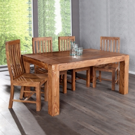 Stuhl SALEM Sheesham massiv Holz gewachst - Komplett montiert! - 3