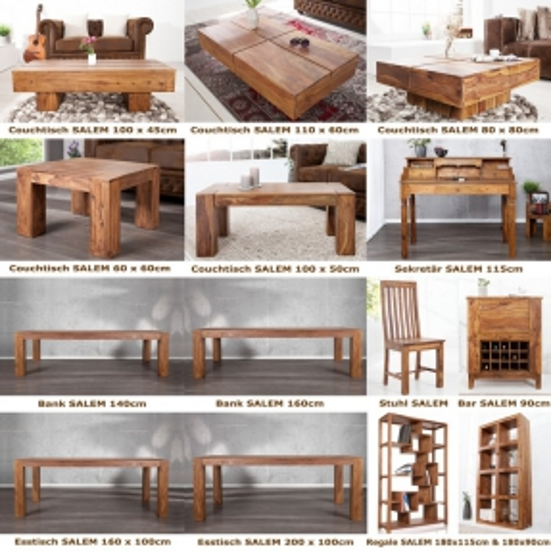 Couchtisch SALEM Sheesham massiv Holz gewachst 60cm x 60cm - 4