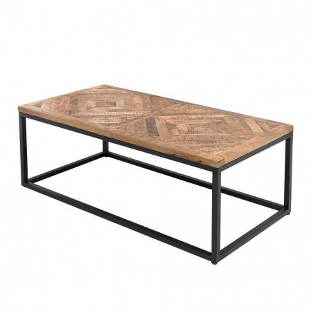 Industriedesign Couchtisch SITA Natur aus Mangoholz in Fischgratoptik handgefertigt 120cm - 4