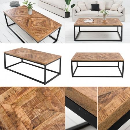 Industriedesign Couchtisch SITA Natur aus Mangoholz in Fischgratoptik handgefertigt 100cm - 7