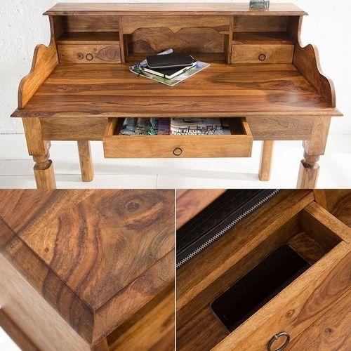 Sekretär & Schreibtisch SALEM Sheesham massiv Holz gewachst 115cm x 55cm - 4