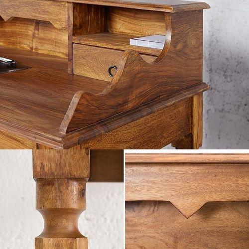 Sekretär & Schreibtisch SALEM Sheesham massiv Holz gewachst 115cm x 55cm - 5