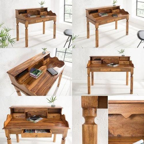 Sekretär & Schreibtisch SALEM Sheesham massiv Holz gewachst 115cm x 55cm - 6