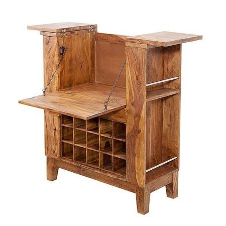 Barschrank SALEM Sheesham massiv Holz gewachst 85cm x 93cm - 5