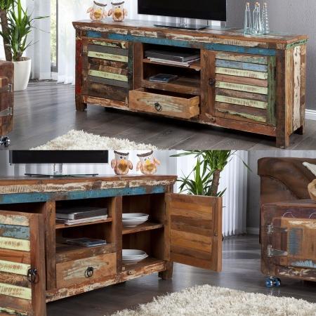 TV-Tisch BORNEO aus recyceltem Teakholz massiv 150cm - 2