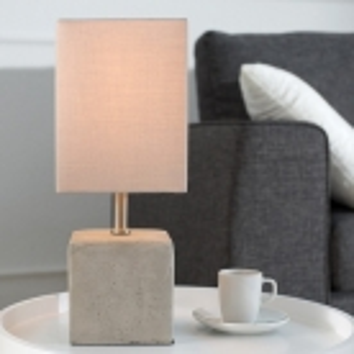 Tischlampe URBANO Beige & Grau mit Fußsockel aus Feinbeton 35cm Höhe - 1