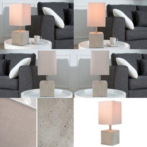 Tischlampe URBANO Beige & Grau mit Fußsockel aus Feinbeton 35cm Höhe - 3