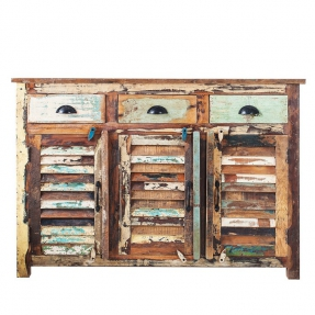 Sideboard BORNEO aus recyceltem Teakholz massiv 125cm - 2