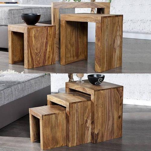 3er Set Beistelltische AGRA Sheesham massiv Holz gewachst 45/35/25cm - 1