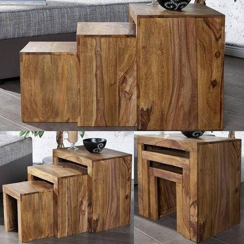 3er Set Beistelltische AGRA Sheesham massiv Holz gewachst 45/35/25cm - 2