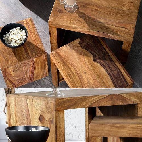 3er Set Beistelltische AGRA Sheesham massiv Holz gewachst 45/35/25cm - 3