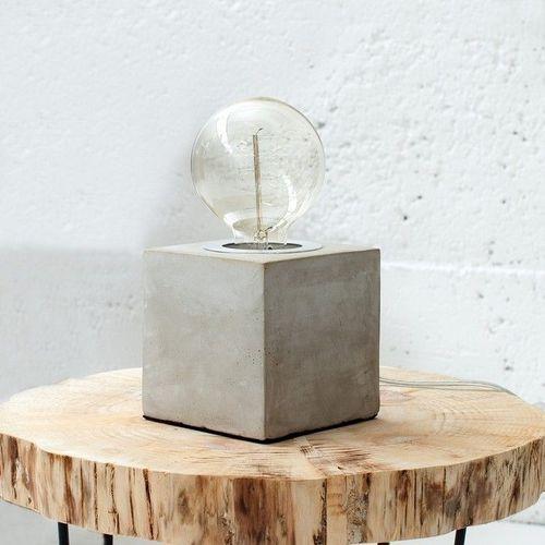 Tischlampe URBANO Grau aus einem Block Feinbeton 12cm Höhe - 1