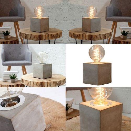 Tischlampe URBANO Grau aus einem Block Feinbeton 12cm Höhe - 3