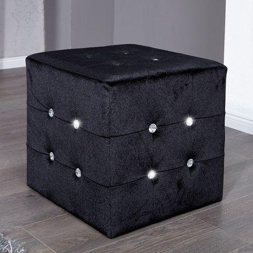 Sitzhocker JOSEPHINA Schwarz aus Samtstoff mit Strasssteinen in Barock-Design 40cm - 1