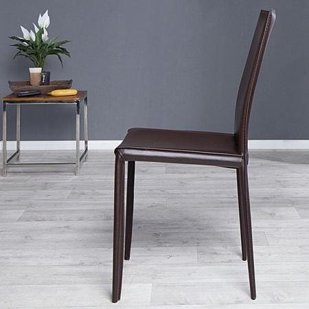Stuhl BOSTON Braun aus Echtleder mit Ziernaht - Komplett montiert! - 1