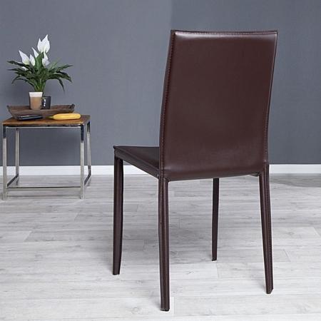 Stuhl BOSTON Braun aus Echtleder mit Ziernaht - Komplett montiert! - 2