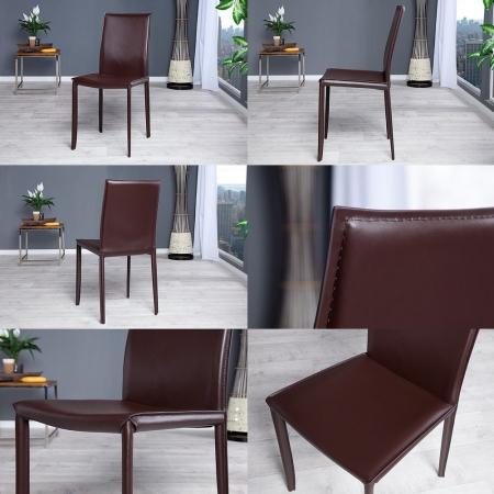 Stuhl BOSTON Braun aus Echtleder mit Ziernaht - Komplett montiert! - 3