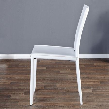 Stuhl BOSTON Weiß aus Echtleder mit Ziernaht - Komplett montiert! - 1