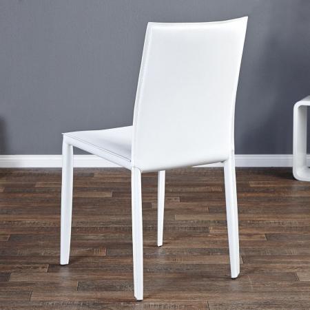 Stuhl BOSTON Weiß aus Echtleder mit Ziernaht - Komplett montiert! - 2
