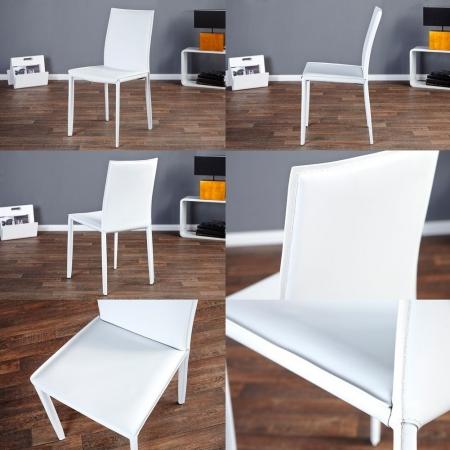 Stuhl BOSTON Weiß aus Echtleder mit Ziernaht - Komplett montiert! - 3