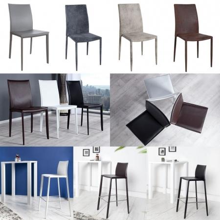 Stuhl BOSTON Weiß aus Echtleder mit Ziernaht - Komplett montiert! - 4