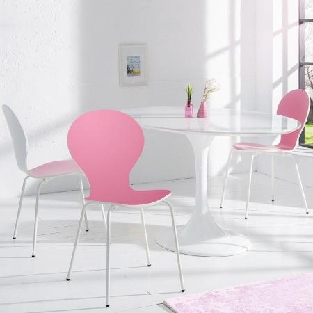 Designklassiker Stuhl JACOBSEN zweifarbig Weiß-Rosa stapelbar - 1