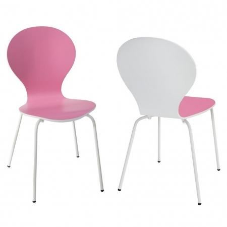 Designklassiker Stuhl JACOBSEN zweifarbig Weiß-Rosa stapelbar - 2