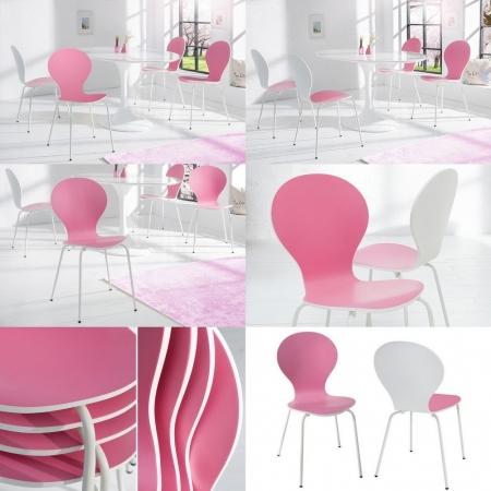 Designklassiker Stuhl JACOBSEN zweifarbig Weiß-Rosa stapelbar - 3