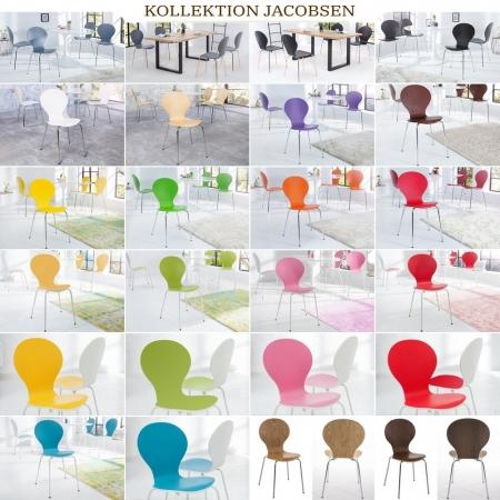 Designklassiker Stuhl JACOBSEN zweifarbig Weiß-Rosa stapelbar - 4
