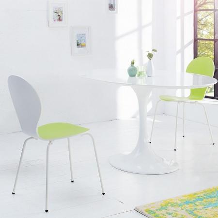 Designklassiker Stuhl JACOBSEN zweifarbig Weiß-Limegrün stapelbar - 1