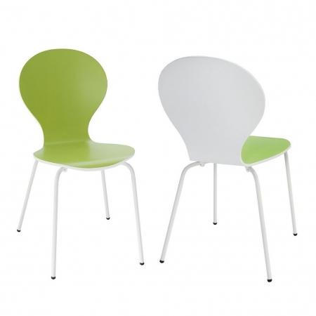 Designklassiker Stuhl JACOBSEN zweifarbig Weiß-Limegrün stapelbar - 2