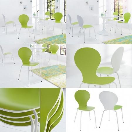 Designklassiker Stuhl JACOBSEN zweifarbig Weiß-Limegrün stapelbar - 3