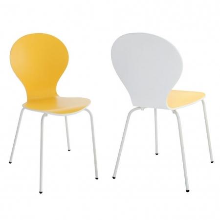 Stuhl JACOBSEN zweifarbig Weiß-Gelb - 2