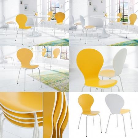 Stuhl JACOBSEN zweifarbig Weiß-Gelb - 3