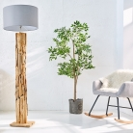 XL Stehlampe [SABAH] Grau aus Treibholz handgefertigt 160-175cm Höhe - 1